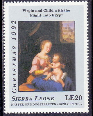 Sierra Leone Stamp  Virgin & Child With The Flight Into Egypt 1992 Mnh.