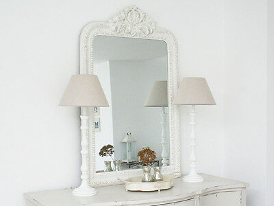 Large Shabby Chic French Antique White Ornate Rocco Mirror Vintage Wedding