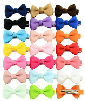 20pcs Small Bow Hair Clips Grosgrain Twill Ribbon Alligator Slides for Baby Girl