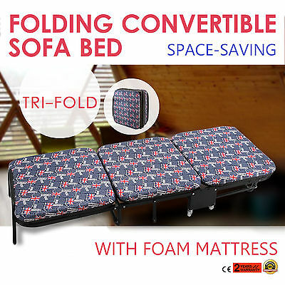 "Folding Double Guest Bed with Airflow Fibre Mattress Tri-Fold 4 Wheels 1.6"" Foam"