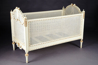 Baby Baroque Bed, Fine Carvings in the Style of the Louis XVI