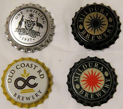 Collectible Group Of 4 Uncrimped Australian Bottle Caps/tops Group 10 - New