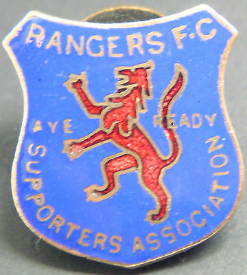 RANGERS Rare vintage 1940s SUPPORTERS ASSOCIATION Badge Button hole 20mm x 23mm