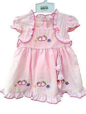 Baby Girls Pink Strawberry Summer Dress With Bloomers & Headband 12-18 months