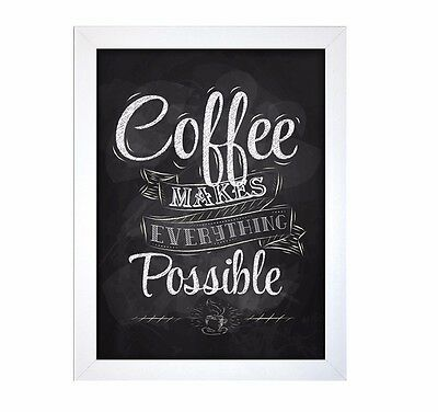 Coffee Kitchen Wall Art Verse Plaque Framed Picture Black White 40 x 30 cm Retro