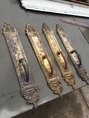 Hd Match Set Of 4 Dolphin Decorated Antique Cast Bronze Pull Plates For Doors