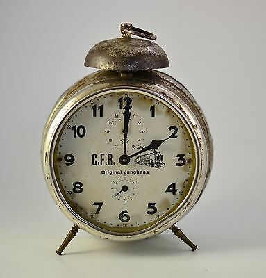 VINTAGE 1920s ANTIQUE GERMAN MECHANICAL JUNGHANS DESK ALARM CLOCK RAILWAY