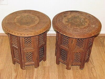 Antique Handmade Moroccan Brass Enameled Carved Teak Wood 2 Coffee Tables Set