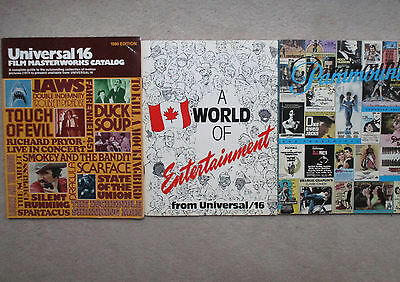 16mm Film Movie Catalogs UNIVERSAL PARAMOUNT 1980 - Lot of  3