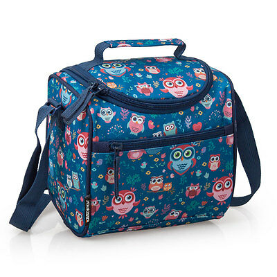Insulated Cooler Lunch Bag Blue Little Owls Premium Snack Box