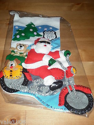 Bucilla Completed Christmas Stocking Santa Riding Route 66