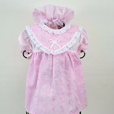 Baby Girls Pink Broderie Anglais Lace Summer Party Smock Top & Hat 6-9 months