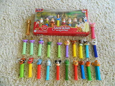 Disney's Snow White Collectors PEZ Set with Book + (22) Other Disney Dispensers