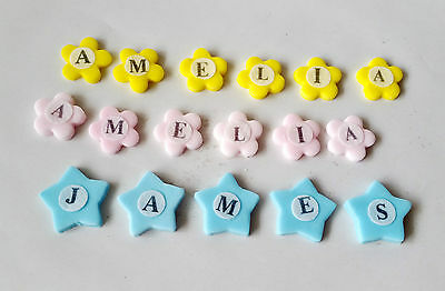 PERSONALISED NAME AGE edible cake toppers birthday decoration stars flowers