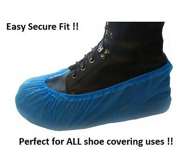 Blue Plastic Disposable Anti Slip Shoe Covers Cleaning Overshoes Protective Home