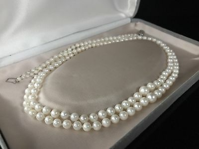 Vintage 14Ct White Gold Saltwater Pearl Double Strand Graduated Necklace 800