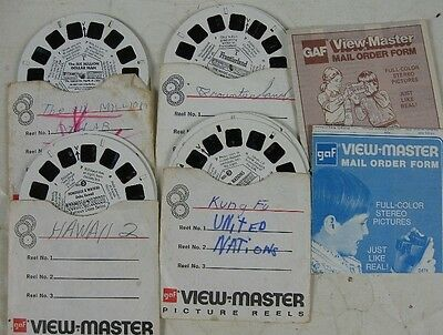 4 Vintage View-Master Views United Nations Hawaii 6 Million Dollar Man Frountier