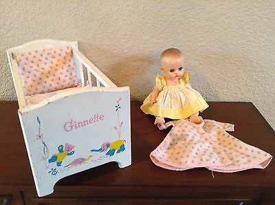 Vintage Vogue Ginnette Doll and Drop Side Crib Complete With Crib Set.