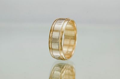 Men's Solid 7.5mm 14K White & Yellow Gold Art Carved Wedding Ring Band Size 10