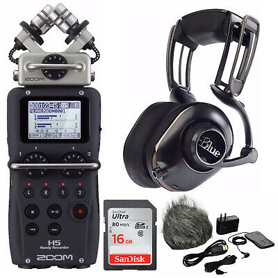 Zoom H4N Pro Four-Track Audio Recorder,Blue Microphone MO-FI Headphones Kit