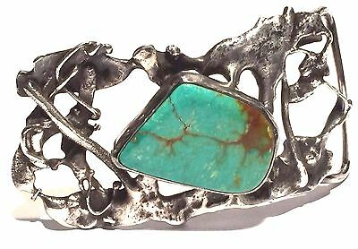Signed Studio Artisan Sterling Silver Turquoise Brutalist Sculpture Belt Buckle