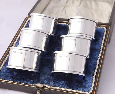 6 Boxed Gorham Solid Silver Napkin Rings. Box Set of Six. Hallmarked 1918