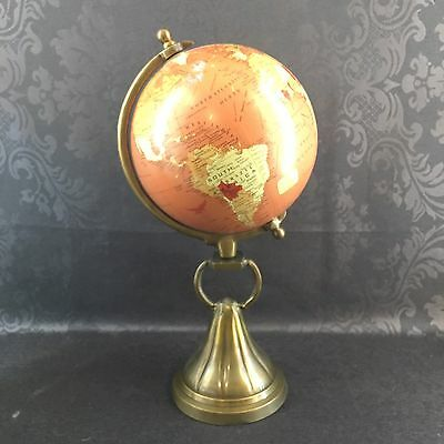 "Vintage 8"" Terrestrial Globe On Brass Pedestal Stand 16"" Tall Earth World"
