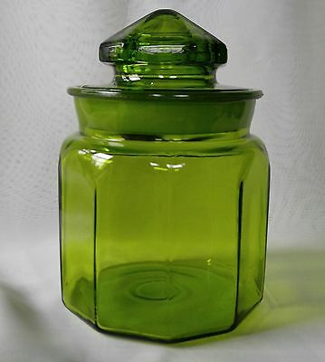 """LE SMITH Green Paneled Glass Canister Ground Lid Vintage 7"""""""