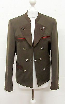 VINTAGE 70s BROWN MILITARY STYLE BAVARIAN EMBROIDERED WOOL JACKET SIZE 14