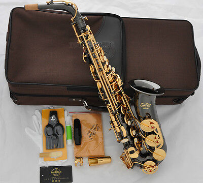 Professional Taishan Eb Black nickel alto saxophone high F# sax New with case