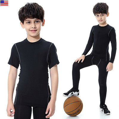 Kids Compression Base Layer Skins Tee Thermal T- Shirt/Pant Quick-drying Clothes