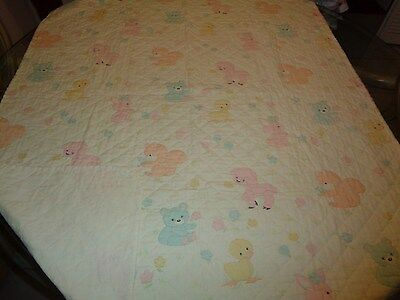 Vintage Animal Theme handmade Baby Quilt Blanket Yellow Multi Colors 40x52 CUTE!