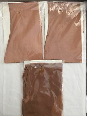New Vintage Cuban Heels   Seamed Nylon Stockings Size 10 Large 3 Pairs  Brown