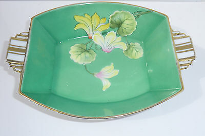 1930s Noritake Made in Japan Two Handled Green Pin Serving Dish Gold Gilt flower
