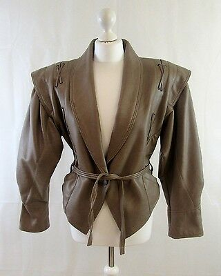 VINTAGE RETRO 80's FAWN BROWN SOFT GENUINE LEATHER OVERSIZED JACKET SIZE 10