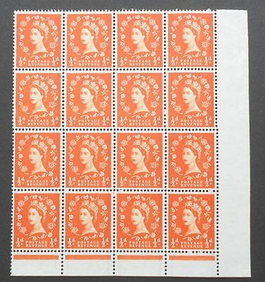 GB 1/2d orange Wildings S3 - block of 16 with flaws, cat £20, graphite lines MNH