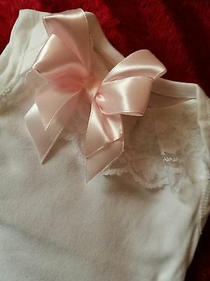 Look Pretty Frilly White Vest Pink Bow 3-6 Baby/reborn