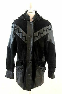 VINTAGE 80's BLACK GENUINE PATCHWORK SUEDE LEATHER COAT JACKET SIZE 14