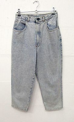 "Girls Vintage Light Blue Denim Cropped Capri Bow Detail Jeans  W25"" L20"" Age 11"