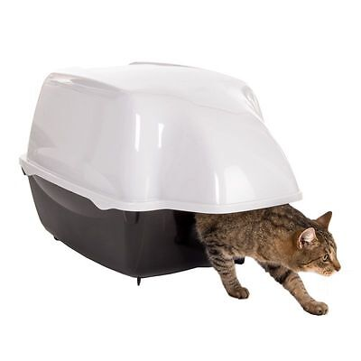 XXL Outdoor Cat Litter Deep Tray Toilet Covered Waterproof Hooded Black White