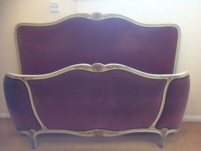 Louis XV style French pink uopholstered Bed Gouffe Paris maker Excellent quality