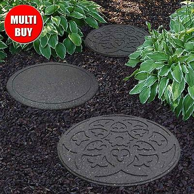 2 PIECES Heavyweight Recycled Rubber Scroll Stepping Stones Garden Pavers DECOR