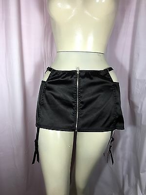 Fredericks Of Hollywood XL BNWT Skirted Garter Belt Black Sheer Back Seduction