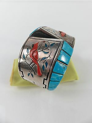 Wayne Silvers Navajo Sterling Turquoise Red Coral Cardinal Bracelet Cuff, c1970s