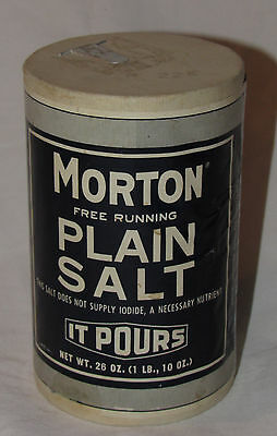 Ca. 1977 Vtg Morton 26oz Salt Container It Pours thick Paper Cylinder