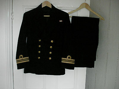 Post Ww2 British Royal Navy Lt Commanders Dress Uniform Jacket & Trousers Named