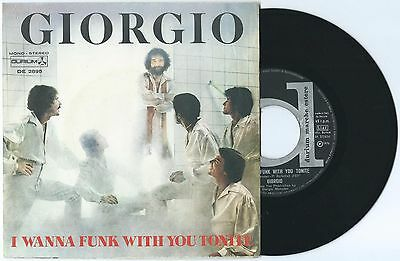 """7"""" GIORGIO MORODER I wanna funk/Knights in (Durium 76 ITALY) Cosmic disco VG+"""