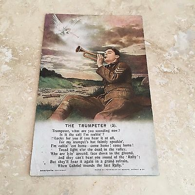 WW1 Bamforth The Trumpeter Soldier With Bugle Songs Series Postcard