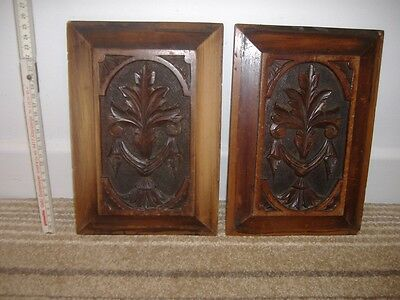 ANTIQUE VICTORIAN WOODEN PLAQUES. HAND CARVED 25cm WOODEN PLAQUES.