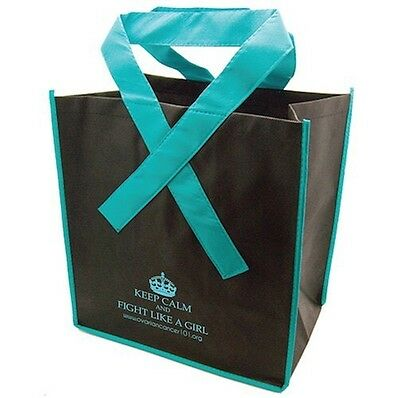 Teal Ribbon Handle Reusable Tote Bag